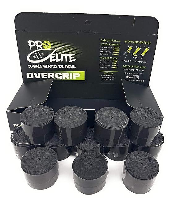 overgrips Pro Elite Premium Lisos Negros. Caja 10+2 unds.: Amazon.es: Deportes y aire libre