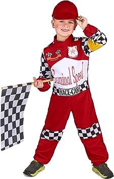 Vegaoo - Disfraz de piloto de Carreras para niño - L 10-12 años (130-140 cm): Amazon.es: Juguetes y juegos
