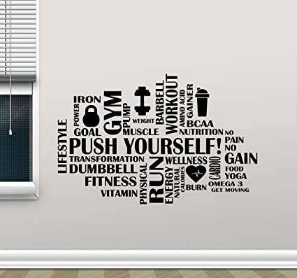 Fitness Words Cloud Gym Wall Decal Push Yourself Motivational ...