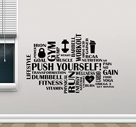 Fitness Words Cloud Gym Wall Decal Push Yourself Motivational