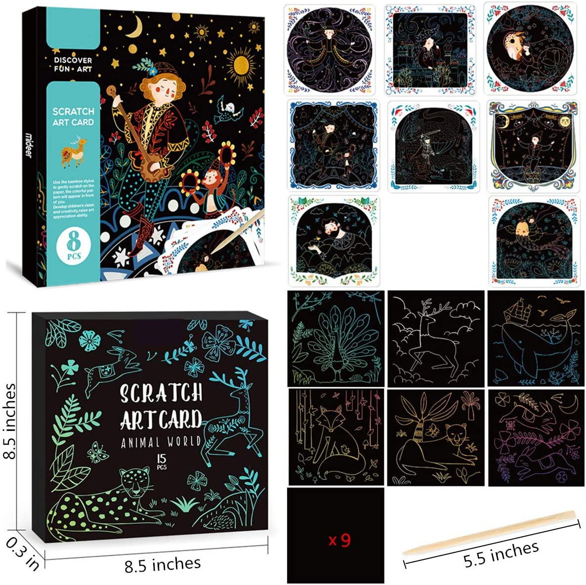 Style 1 Aimofox 23 Sheets Rainbow Scratch Paper 8 Fairy Tales Colorful Scratch Art Paper Fun Art Supplies for Kids Arts /& Crafts 6 Animal Painting Cards 9 pcs Graffiti Creative Scratchboard