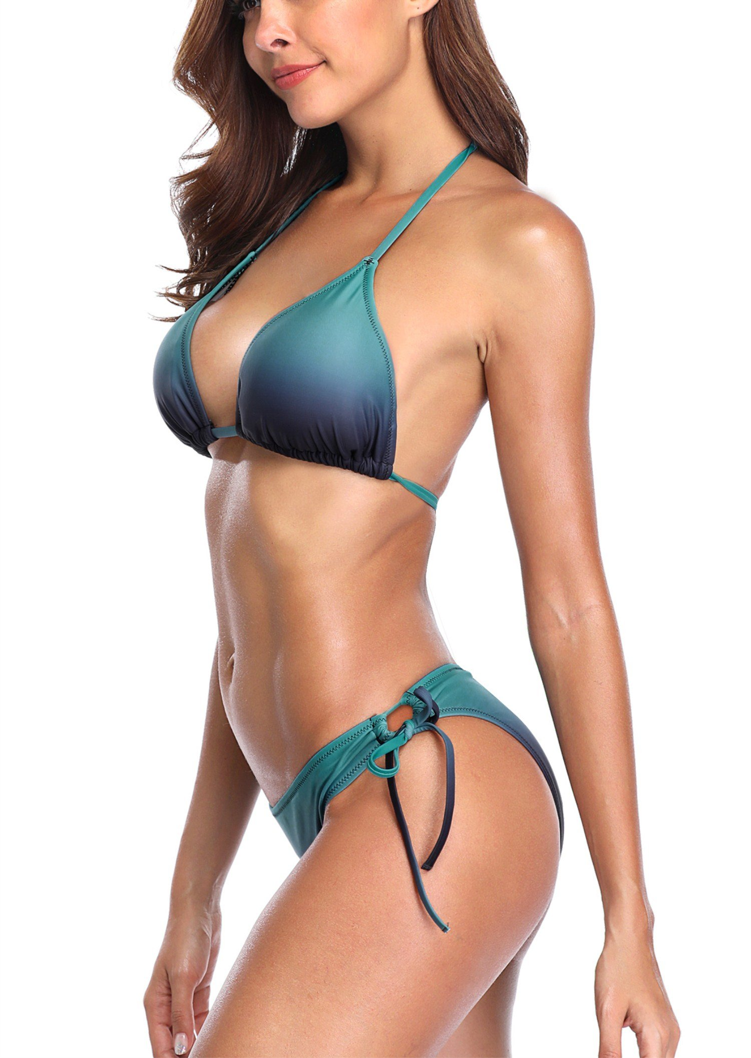 Charmleaks ladies two piece bikini bathing suit halter swimsuit green medium by CharmLeaks (Image #4)