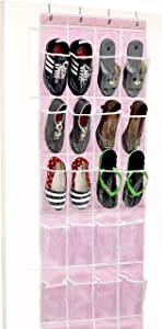 Simple Houseware SHW Over The Door Shoes Organizer, Pink