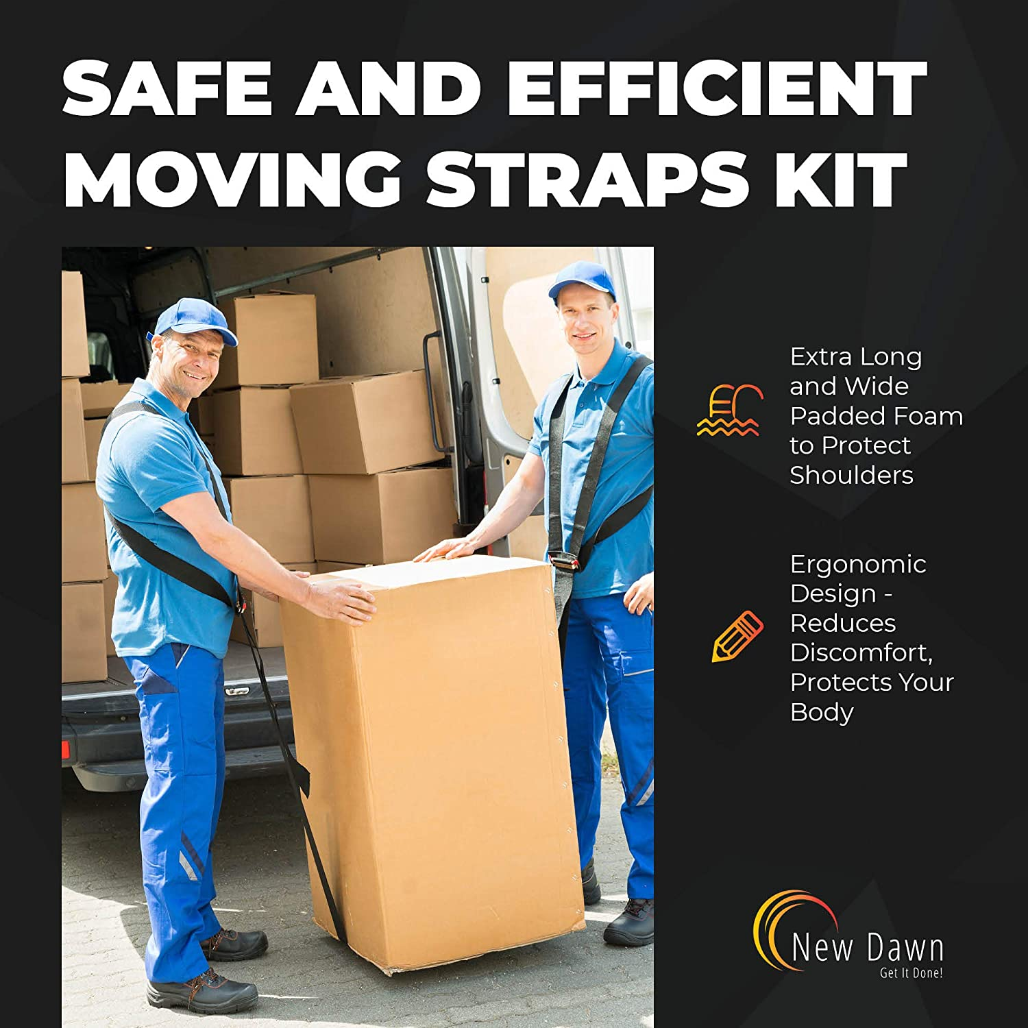 New Dawn Shoulder Moving Strap 2 Sets Strong Lifting Straps for Furniture,Appliances and Heavy Items with Bonus Nonslip Gloves and House Moving Labels