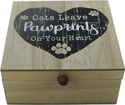 Caja de recuerdos para gatos, diseño de huellas de gato en tu corazón, caja de madera: Amazon.es: Bricolaje y herramientas