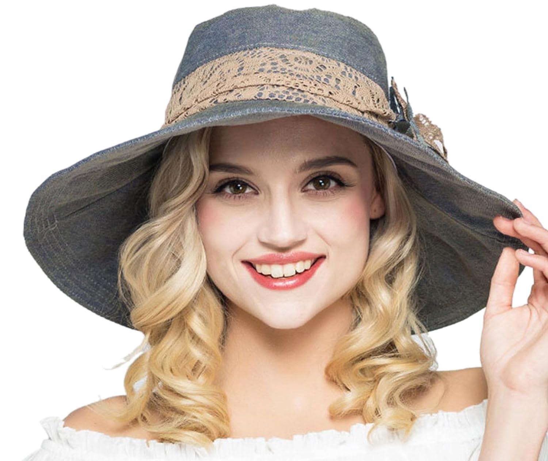 Elonglin Womens Wide Brim Beach Hat Sun Hat with Lace Flower Cap Anti-UV EL.MZ0371-F