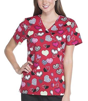 167e50fe283 Amazon.com: Womens Scrub Star V-Neck Red Heart Top- Sending Your ...