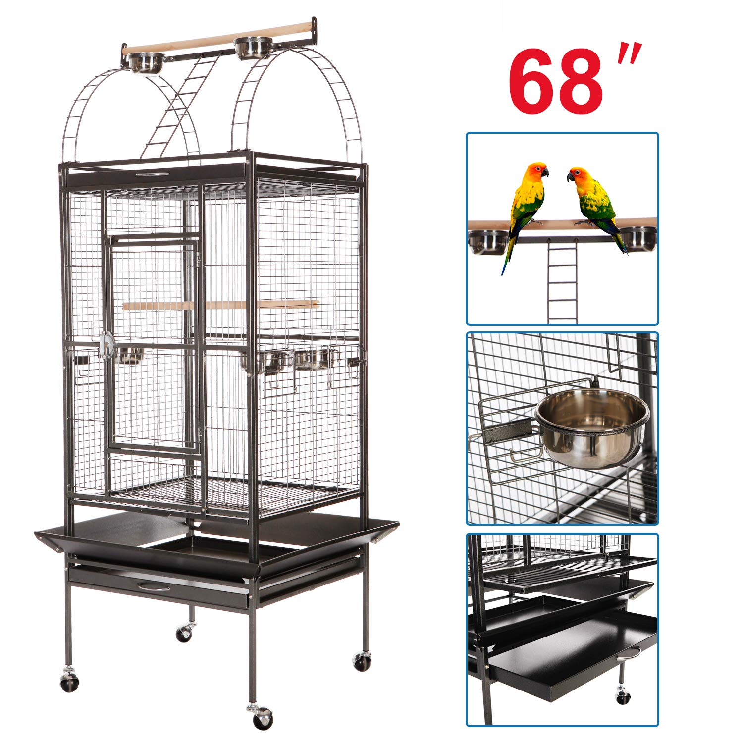 VECELA Bird Cage Play Top Parrot Cage 68 Inch Large Bird Cage with Unique Circular Staircase Birdcage for Parrot Large Pet House Black by VECELA