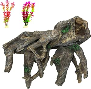 PINVNBY Decaying Tree Root Aquarium Resin Driftwood Decoration Fish Tank Trunk Ornament Betta Log Hideouts Cave Decor with Reptile Climb for Small Fish,Shrimp,Guppies,Lizard and Gecko Play(3 Pcs)