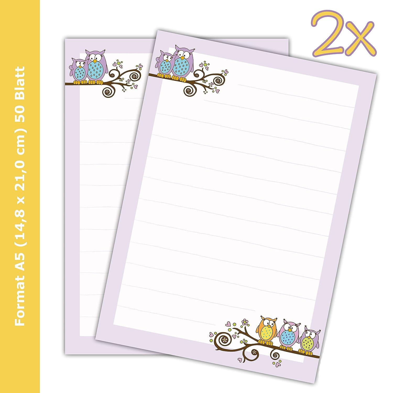 '2bloques de texto/carta bloques de papel Búhos DIN A5, a rayas, 50hojas/Papel de carta para niños emufarm