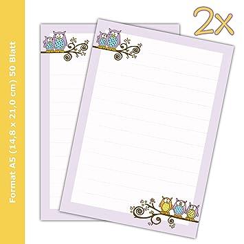 2 bloques de texto/carta bloques de papel Búhos DIN A5, a ...