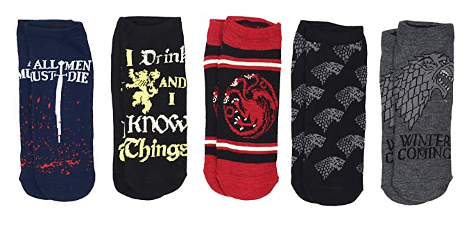 2faf7a425d Amazon.com  Game of Thrones Quotes Juniors Womens 5 Pack Ankle Socks ...