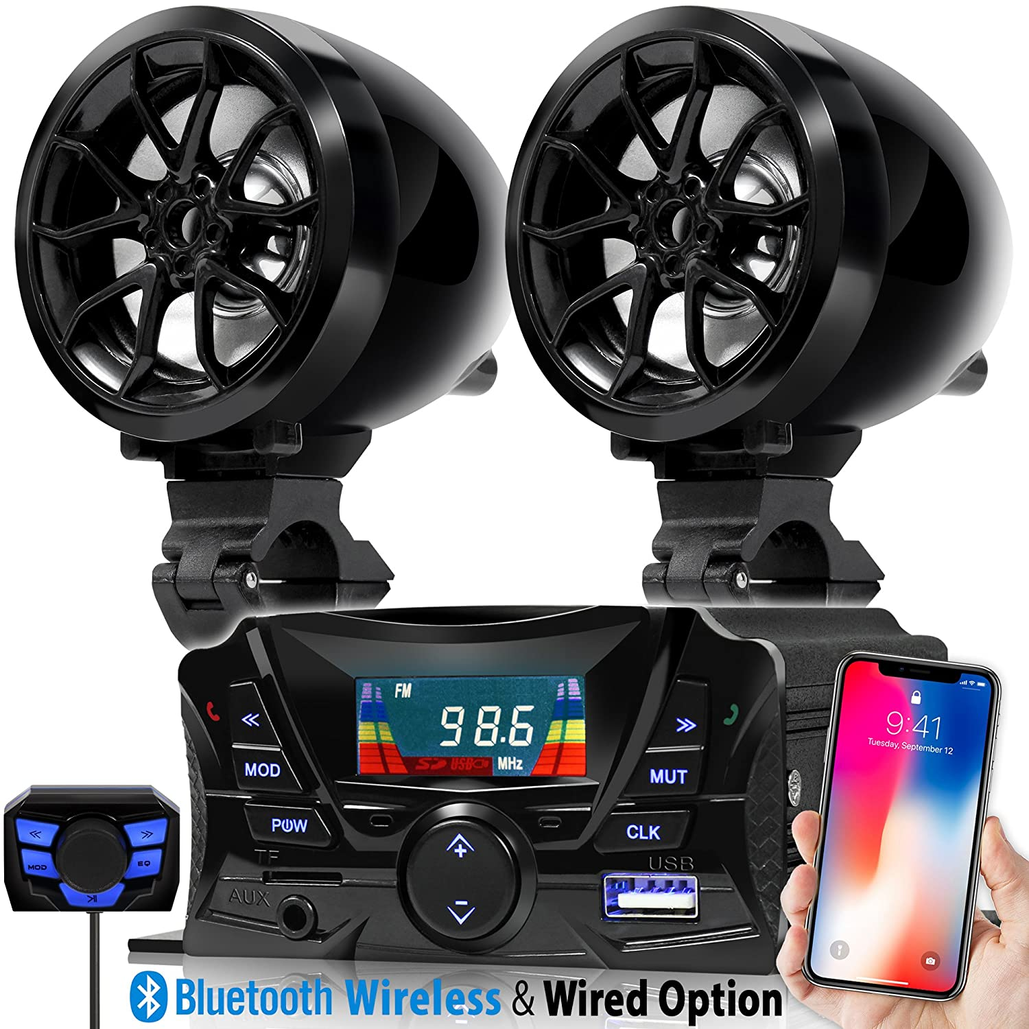GoldenHawk USA 3' Motorcycle Waterproof Bluetooth Wireless Speaker 7/8-1 in. Handlebar Mount MP3 Music Player Sound Audio Stereo Amplifier System ATV UTV w/3.5mm AUX in, USB 2.0, Micro SD, FM Radio Golden Hawk USA