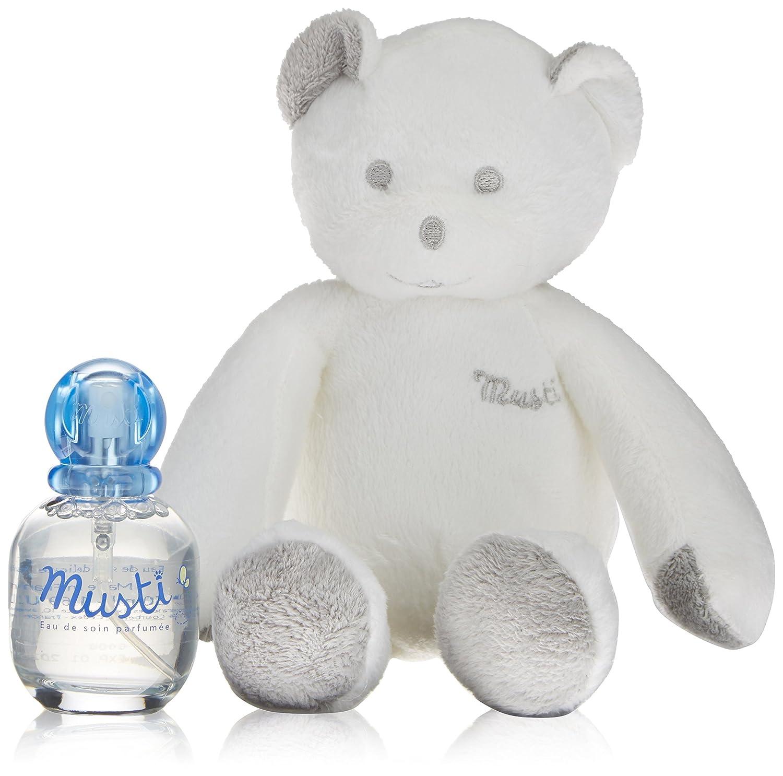 Mustela - mod. 48979–Musti Acqua Fresca, senza alcool, fragranza per bambini, confezione da 50ml, con peluche blu e rosa in omaggio