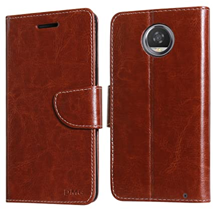 san francisco 13137 2059d DMG Moto Z2 Play Flip Cover, Sturdy PU Leather Wallet Book Cover Case with  Card Slots and Magnet Closure for Moto Z2 Play (Brown)