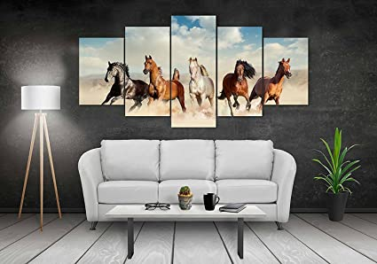 ppd sparkling five horses wall painting 5 frames five running