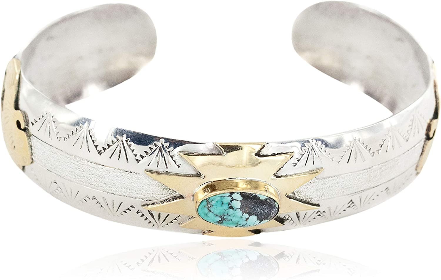 $510Tag 12Ktgf Silver Certified Buffalo Navajo Spiderweb Turquoise Bracelet 12970-2 gemacht durch Loma Siiva