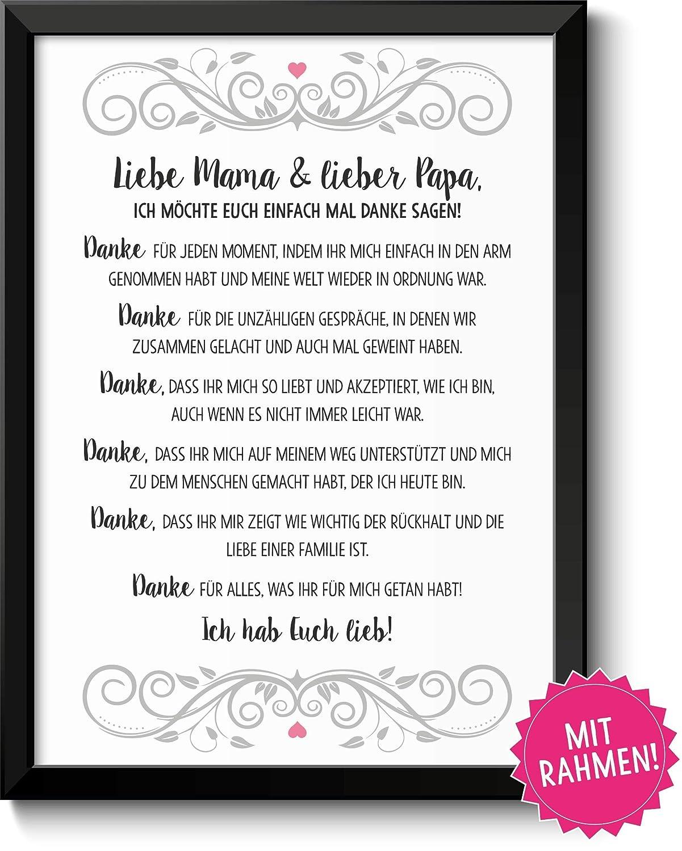 Danksagung Mama Und Papa Bild Im Schwarzem Holz Rahmen Geschenk Geschenkidee Danke Sagen Dankeschön Eltern