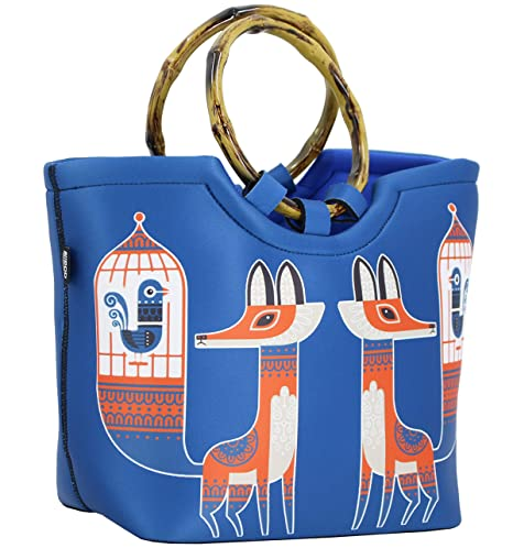 1f469df2dd4b Lunch Bag Tote Bag by QOGiR - Large Reusable Insulated Neoprene lunch Bag  with Inside Pocket (Bird & Fox)