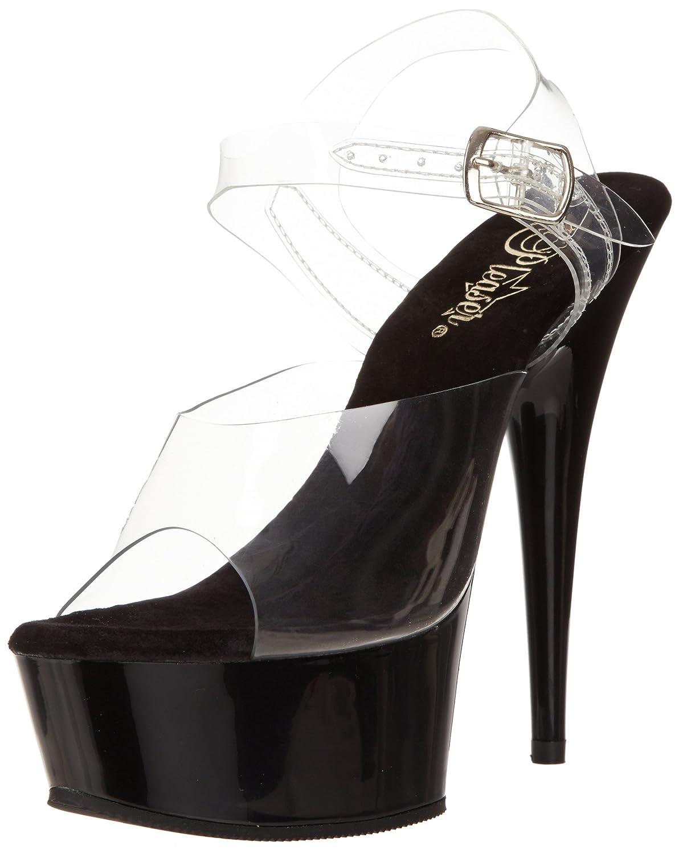 Pleaser Women's Delight-608 Ankle-Strap Sandal B00B22SY6C 7 B(M) US|Clear/Black