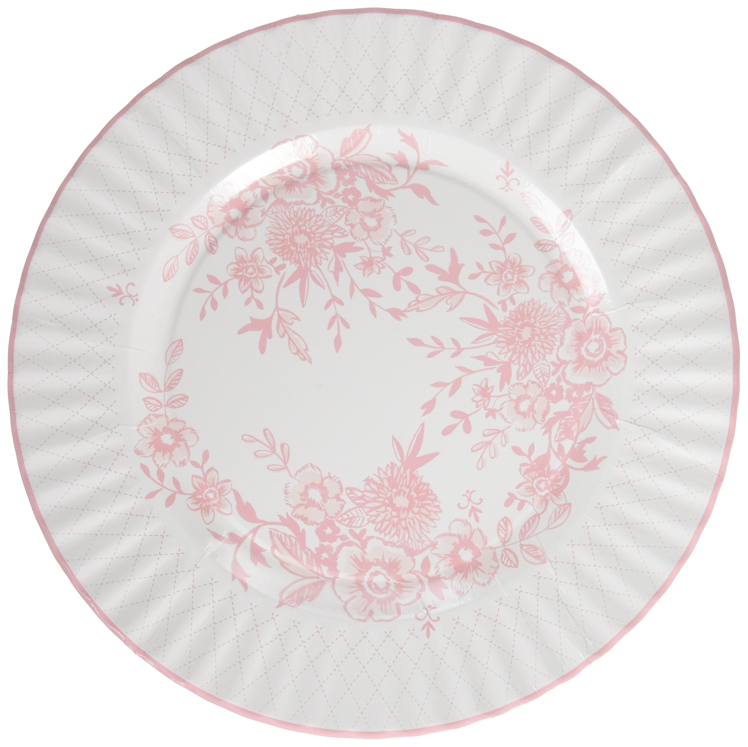 Talking Tables Party Porcelain Rose Large 11 inch Floral Disposable Plates, 8 count,  for a Tea Party or Get Together, Pink/White