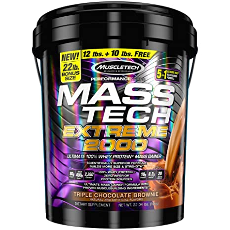 Muscletech Mass Extreme - 9.98 kg (Triple Chocolate Brownie) Mass & Weight Gainers at amazon
