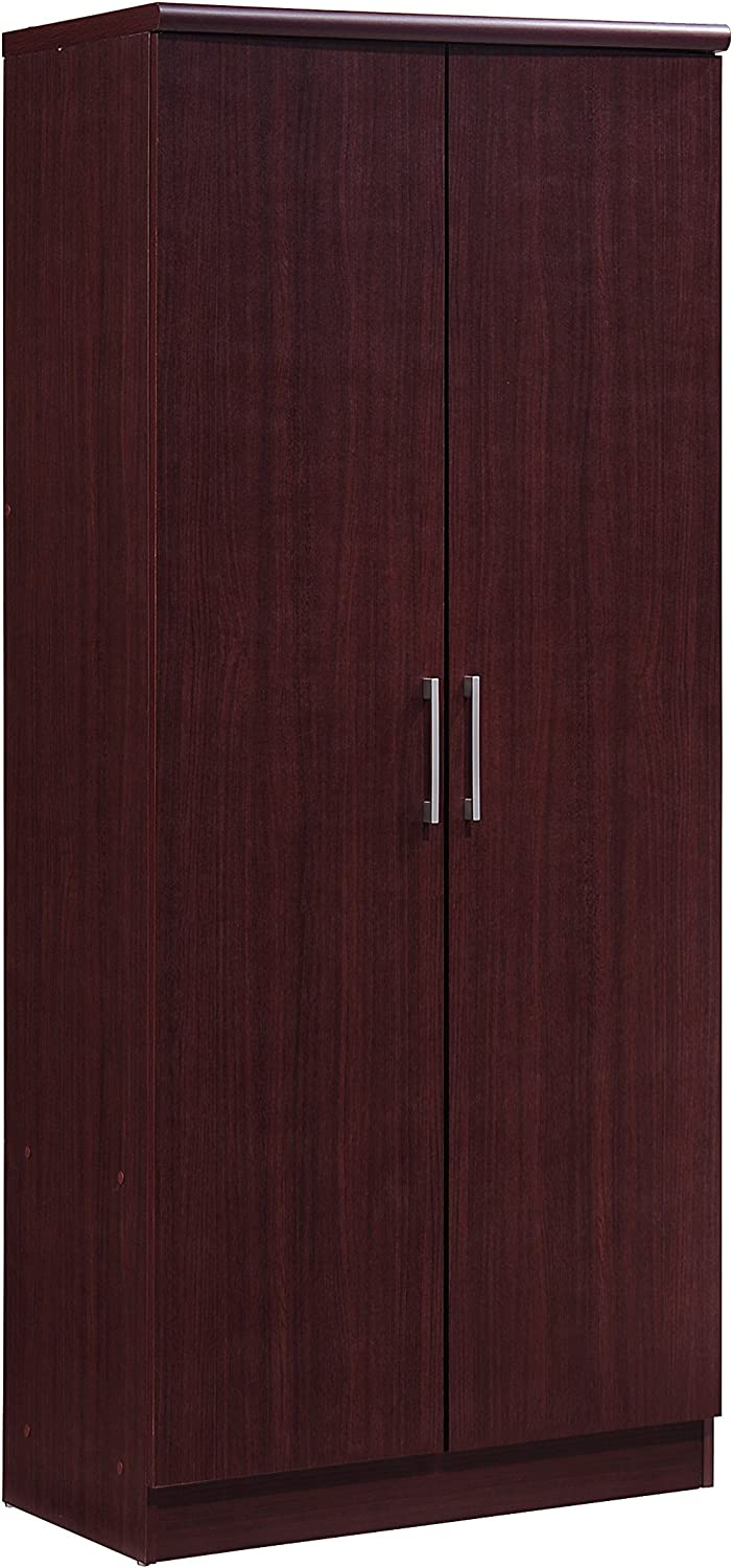 Hodedah 2 Door Wardrobe with Adjustable/Removable Shelves & Hanging Rod, Mahogany