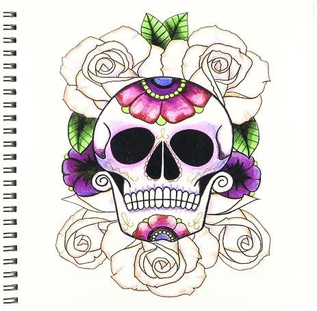amazon com 3drose db 193529 1 sugar skull roses drawing book 8 by