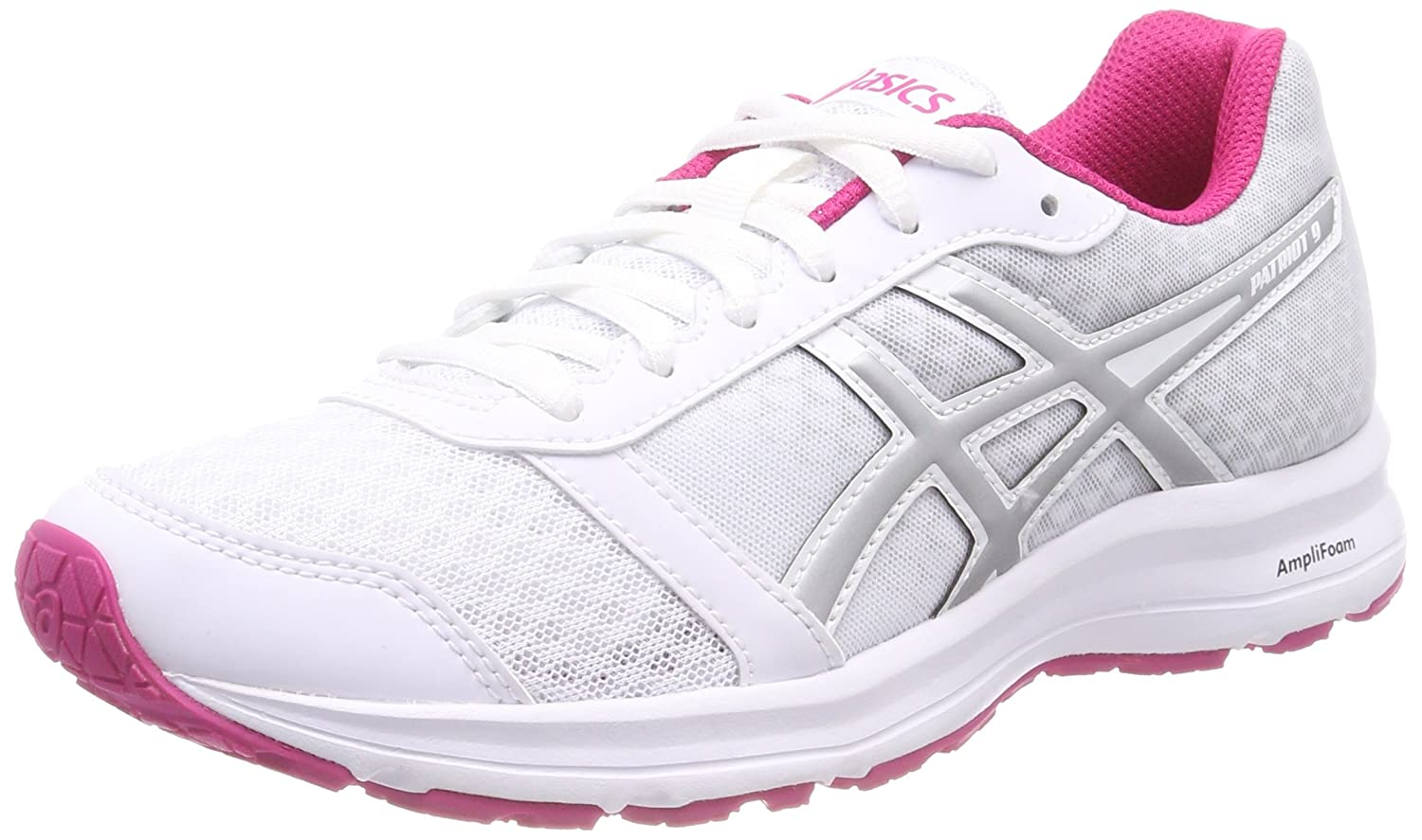 Asics Patriot 9, Zapatillas de Running para Mujer 40.5 EU|Multicolor (White / Silver / Fuchsia Purple 0193)