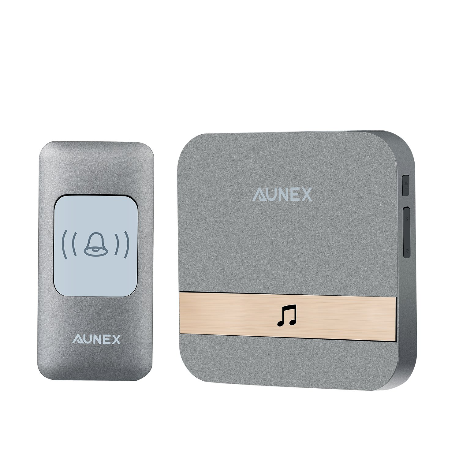 Wireless Doorbell AUNEX Doorbell Chime Kit smart doorbell Operating at Over 1000 Feet with 1 Plug-In Receivers,1 Push Button Transmitter, 52 Melodies, 4 Level Volume, CD Quality Sound and LED Flash