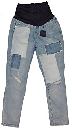 25fd79b217f05 Image Unavailable. Image not available for. Color: GAP Maternity Blue Denim  Patchwork Girlfriend Full Panel ...