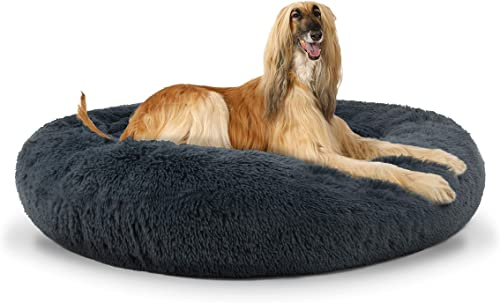 The Dog s Bed Sound Sleep Donut Dog Bed, XL Steel Grey Plush Removable Cover Premium Calming Nest Bed