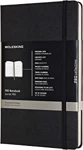 """Moleskine PRO Notebook, Hard Cover, Large (5"""" x 8.25"""") Professional Project Planning, Black, 240 Pages"""