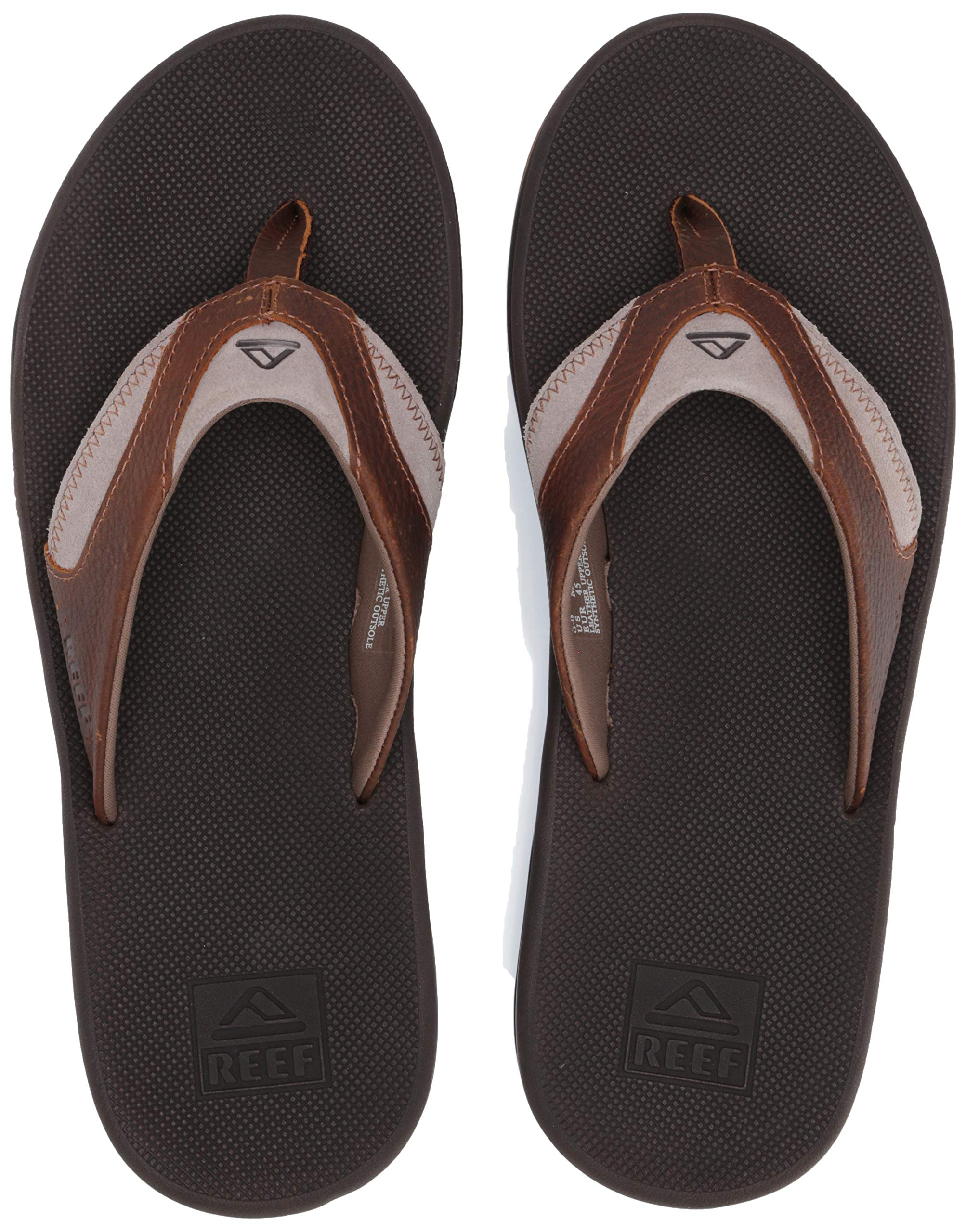 Reef Men's Leather Fanning Sandal Brown, 150 Medium US