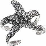 PammyJ Silvertone Textured Starfish Cuff Bracelet