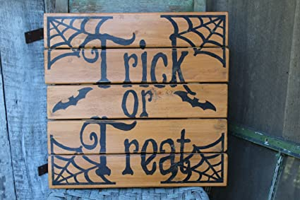 primitive wood sign halloween trick or treat pallet sign large porch deck welcome decor party decor