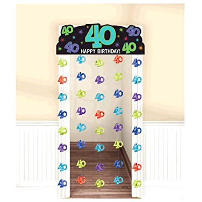 """Happy 40th Birthday"""" Doorway Curtain: Toys & Games,  Measures 77"""" long x 39"""" wide  Multicolored foil"""
