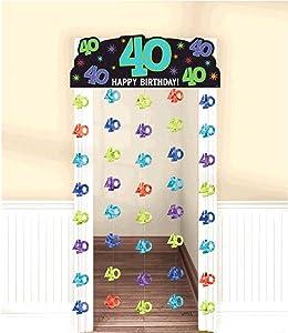 """amscan """"Happy 40th Birthday"""" Doorway Curtain, Multicolor, 77"""" x 39"""""""