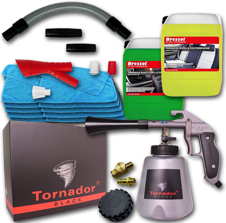 Brestol Tornador Black Z 020s Rotador Adaptor Z300 Gebrauchsfertiges Universalreinigungsset 2x 5 Liter Reiniger 10x Mikrofasertuch Universaltuch Textilreiniger Kunststoffreiniger Lederreiniger Auto