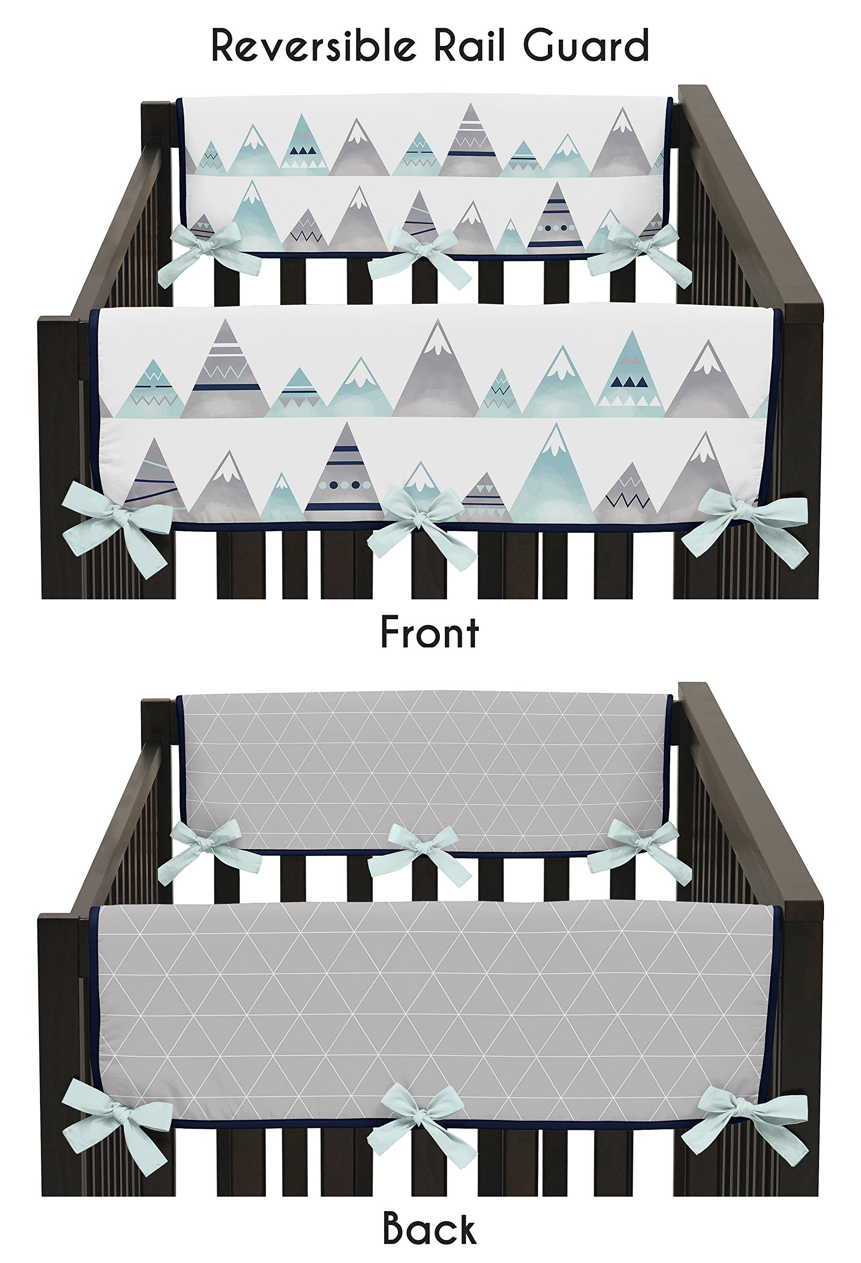 Sweet Jojo Designs 2-Piece Navy Blue, Aqua and Grey Aztec Side Crib Rail Guards Baby Teething Cover Protector Wrap for Mountains Collection by