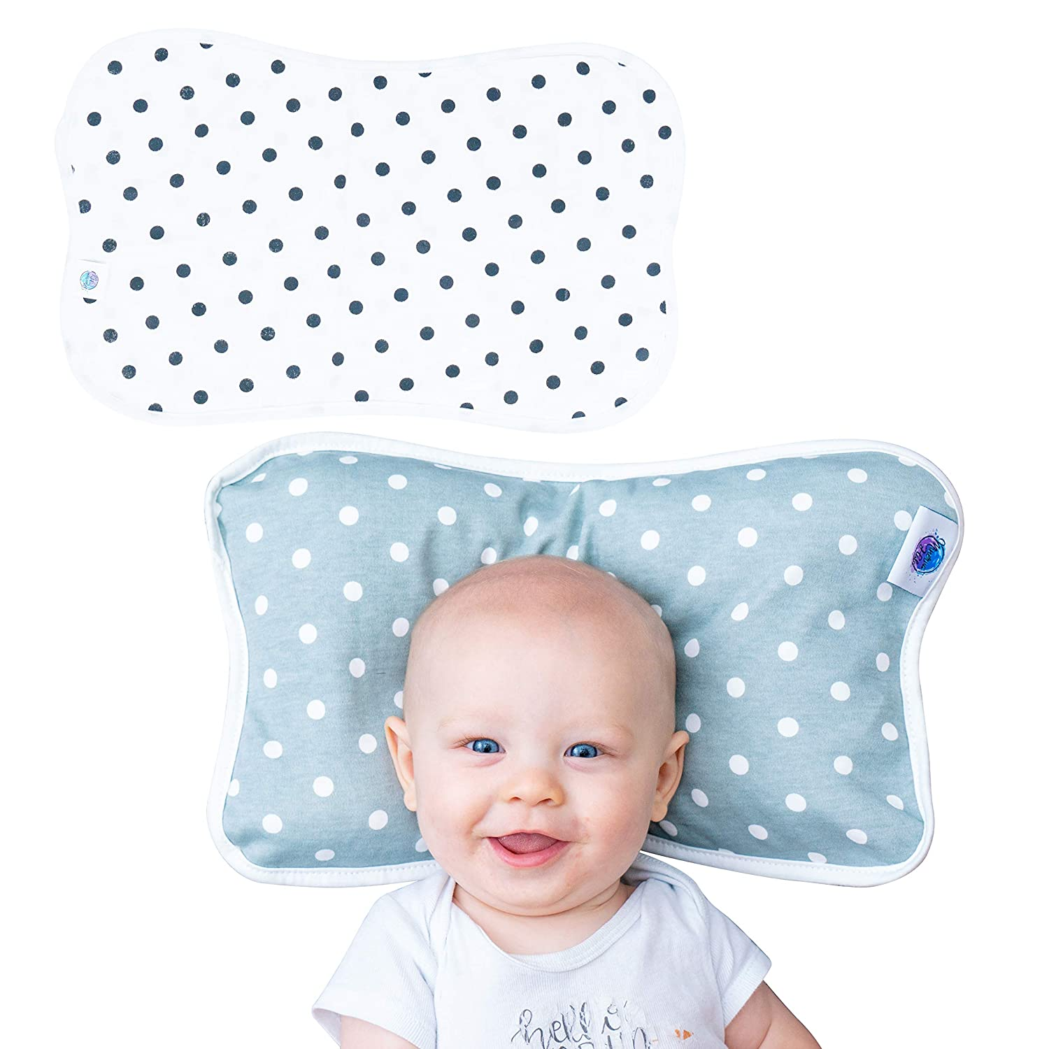 Newborn Baby Pillow Includes Free Pillow Cases 100% Cotton | Breathable Pillow for Better Sleep |Excellent Gift Set for Baby Shower | Prevents Flat Head or Plagiocephaly New millineum