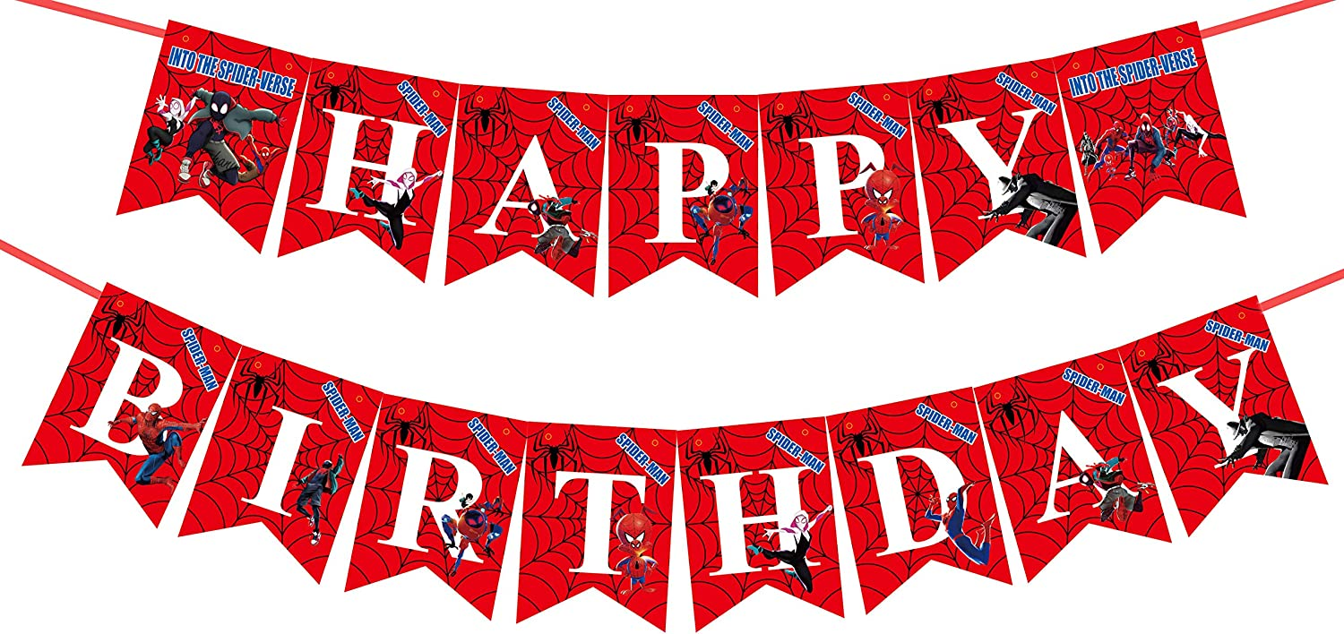 Amazon Com Spider Man Happy Birthday Banner Superhero Theme Birthday Banner For Fans Who Like Superheroes Party Decorations Toys Games
