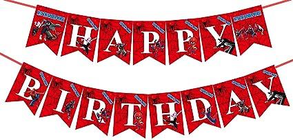 Amazon.com: Banderín de cumpleaños de Spider-Man, tema de ...