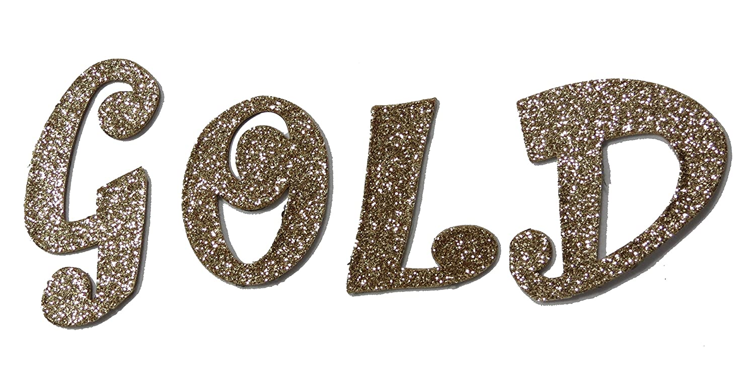 Gold Metallic Glitter HandCut Chipboard Letters Alphabet Set Sickers 2' Joker Font Uppercase Agsense