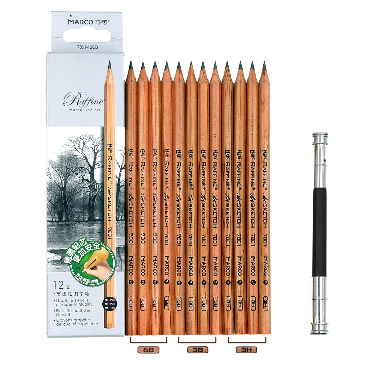 12pcs marco 7001 pencils 1pcs pencil extender 4pcs 3h drawing pencils 4pcs 3b sketching pencils 4pcs 6b art pencils 1pcs stainless steel pencil