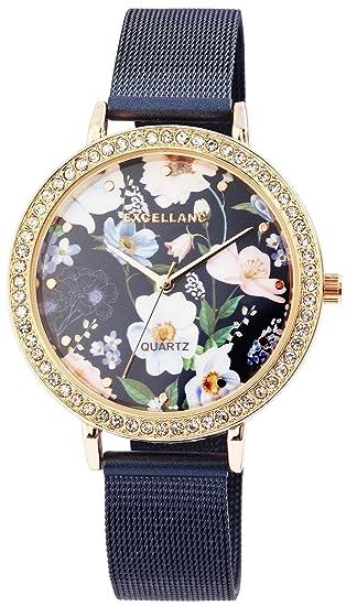 Reloj mujer azul flores de oro Mesch analógico metal Reloj de pulsera