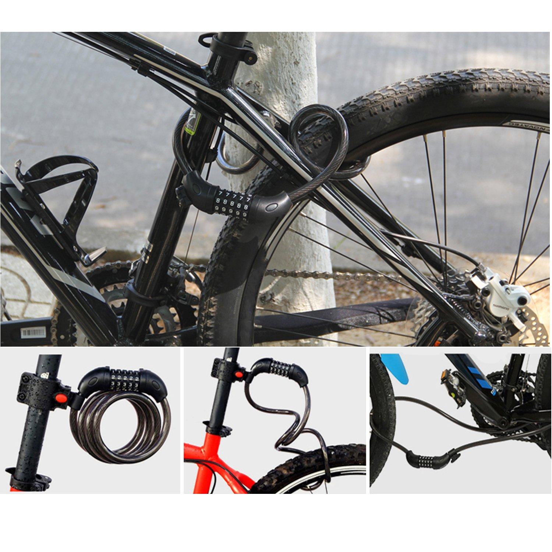 Cadena de alta seguridad para bicicleta GoFriend con combinación de 5 dígitos reajustable, cable para enrollar lo mejor para bicicletas al aire libre.