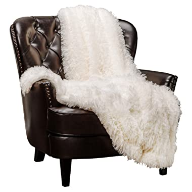 Chanasya Super Soft Shaggy Longfur Throw Blanket | Snuggly Fuzzy Faux Fur Lightweight Warm Elegant Cozy Plush Sherpa Microfiber Blanket | for Couch Bed Chair Photo Props - 50 x 65  - Ivory White