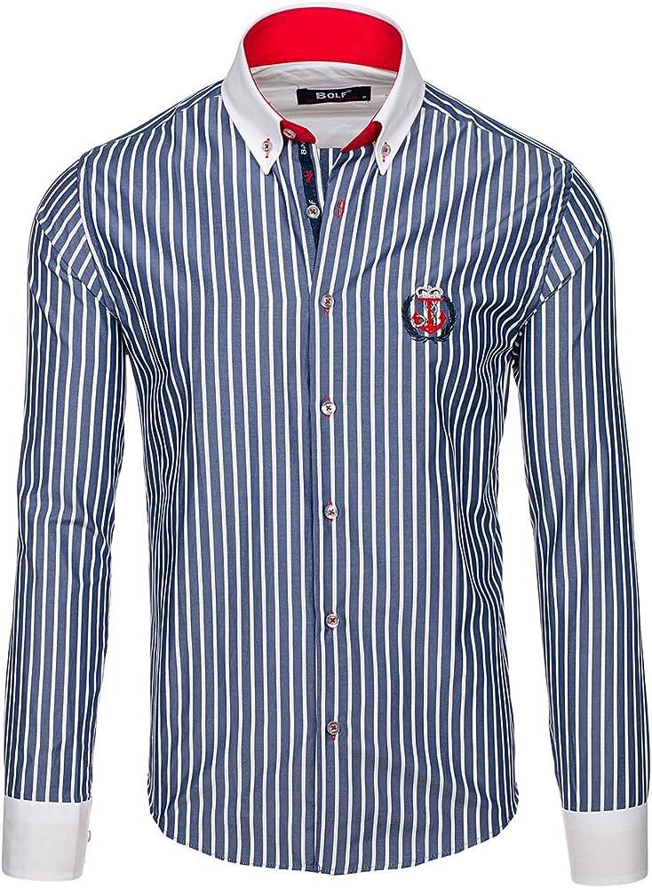 BOLF Camisa casual - con botones - Manga Larga - para hombre azul oscuro Small: Amazon.es: Ropa y accesorios