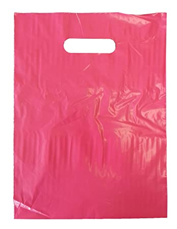 Amazon.com: 9 x 12 Hot Pink Die Cut Handle Plastic Shopping Bags ...